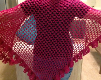 Berry Color Bohemian Light Weight Shawl_Hand Crocheted Wrap_Teen to Senior Gift_Vintage Look_Hand wash_Free shipping_Made in USA_Female gift