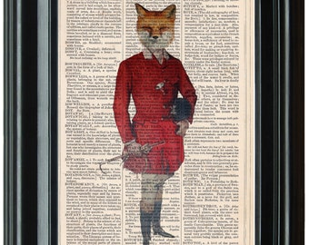 Fox Portrait dictionary art print book page antique vintage dictionary print wall art, Victorian decor, Fox Hunting