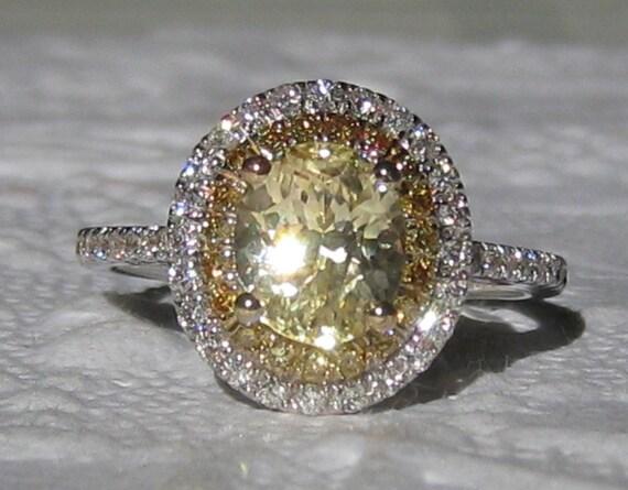 2 Carat Canary Yellow Untreated Ceylon Sapphire In Diamond