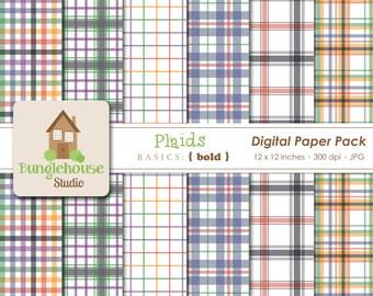 Plaid Digital Paper Pack | Instant Download | Digital Scrapbooking Basics | Bold Plaid Papers