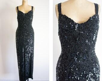 1980s Art Deco Inspired Beaded Black Dress / Vintage / Size Medium / Dark Jessica Rabbit Dress