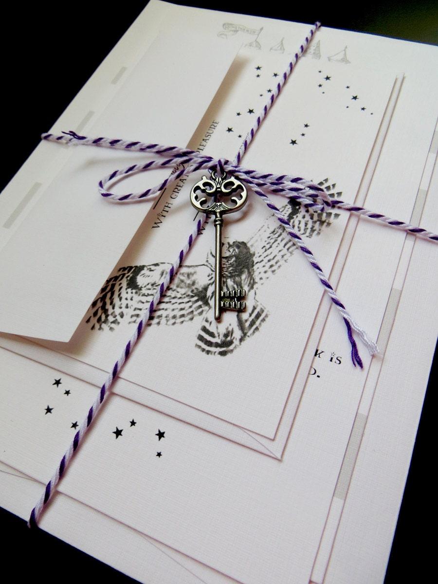 Harry potter wedding invitation package for Etsy owl wedding invitations