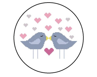 Counted Cross Stitch Pattern, Love Birds and Hearts Cross-Stitch Pattern PDF, Instant Download
