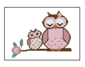 Mother's Day Owl Cross Stitch Pattern - Cross-Stitch Pattern PDF, Instant Download