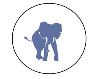 Cross Stitch Pattern PDF - Elephant Silhouette - Cute and Easy Beginner Pattern