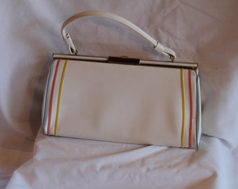 "Vintage summer 1950 ""AETNA"" USA White Leather Purse With Stripes"