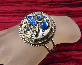 Steampunk Vintage Pocket Watch Movement Bracelet with Vintage Sapphire Glass Crystals, by Kay E2203