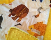 Brown Bear Blanket -Small or Large Minky Baby Toddler Child Adult Throw- Custom Made - Eric Carle, Caterpillar Childrens Book