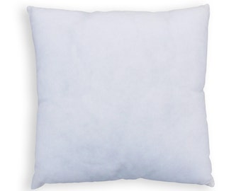 Pillow insert, square, non woven polyester cover with polyfibre filling, sizes offered are from 12X12 to 18X18 inches.