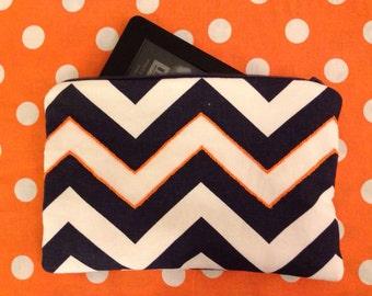 SALE! Navy and Orange Chevron ereader sleeve / iPad Mini sleeve / Kindle sleeve