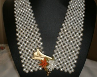 White Beaded Netting Necklace