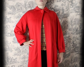long red wool coat Tricosa vintage retro 60