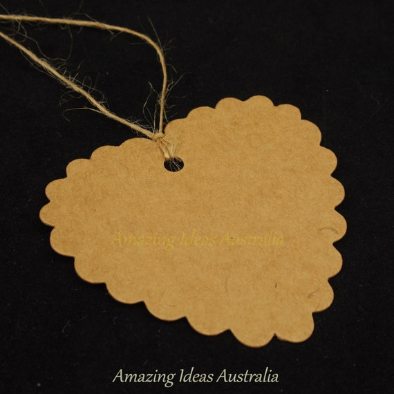 Wedding Gift Tags Australia : Gift Tag Scalloped Heart Kraft (25/50/100 Packs) : Party Wrapping ...