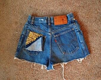 "High waisted shorts Levi's / studded / 24"" waist"