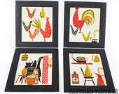 Vintage Scandinavian Inspired Rooster and Home Essentials Fabric Art
