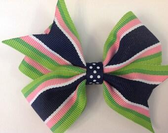 Navy, Pink & Green Pinwheel