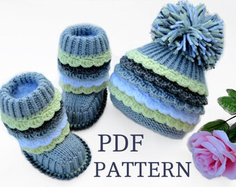 Crochet P A T T E R N Knitting Baby Booties Baby Hat Knitted  Baby Pattern Shoes Crochet Knitted Baby Uggs Patterns Baby Boots ( PDF file )