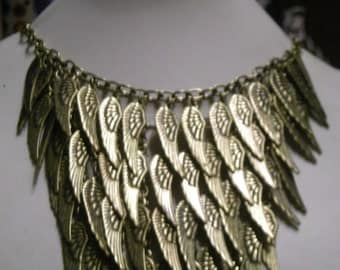 Necklace,Angel wing pendant charm necklace. Boho necklace, statement necklace,