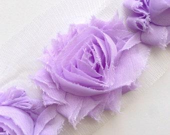 Shabby Rose Flower Trim--Lavender