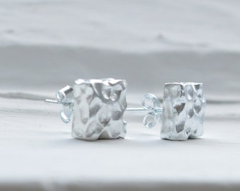Silver Square Earrings - Hammered Stud Earrings - Sterling Silver Earrings -