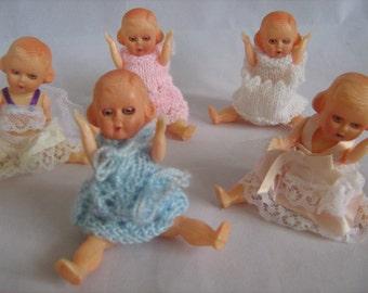 Nine Little Vintage Dolls - Made In England