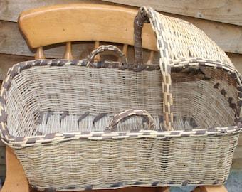 Antique Doll/Teddy Woven Wicker Cradle Basket /MEMsArtShop.