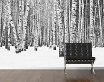 Birch tree wallpaper,  repositionable peel & stick wall paper, wall covering