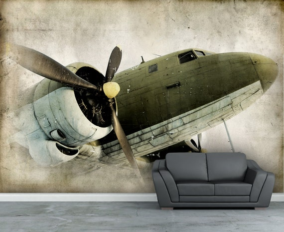 Picture wall paper vintage retro propeller airplane wall for Classic mural wallpaper