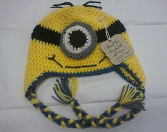 Hat, Crochet, Minion/Minion Earflap Beanie