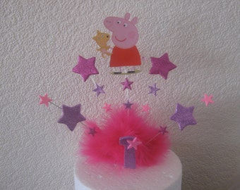 Peppa pig or George cake topper with your choice of age and colours