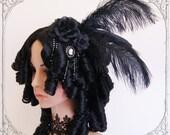 Baroque Wig (Goth, Rococo, Vampire, Black, Marie Antoinette, Headdress )