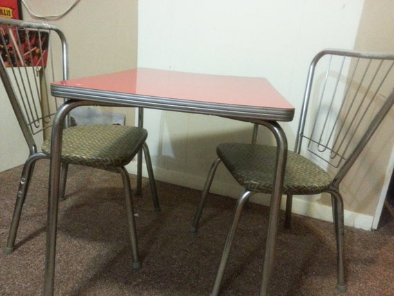 Vintage formica top child 39 s table with two chairs by by pastback - Retro formica table and chairs ...