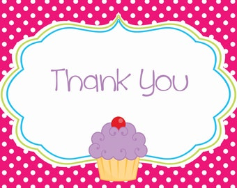 Girl Cupcake Thank You Notecard