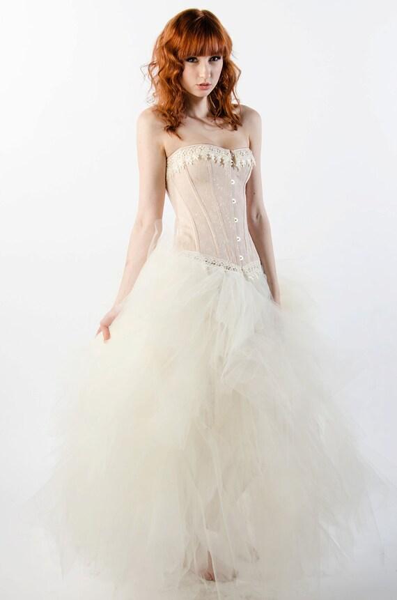 Custom ivory dream prom dress wedding evening gown corset for Dream prom com wedding dresses