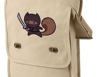 Ninja Squirrel Embroidered Canvas Field Bag
