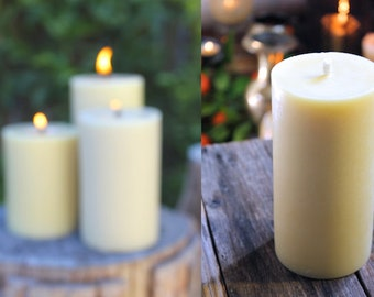 Large Beeswax Pillar Candle, 100% Natural & Made in Australia
