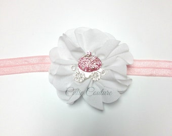 Baby Headband, White Headband, Princess Headband, white princess headband, white newborn headband, flower headband, birthday headband