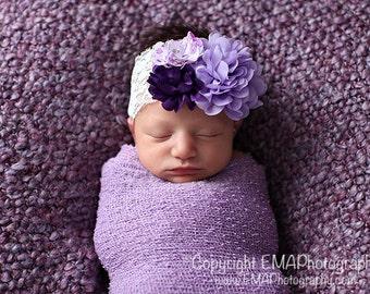 Lavender headband and wrap, Lavender Baby Headband, Purple Headband, Lavender Headband, Flower Girl Headband,Birthday Headband,newborn wrap
