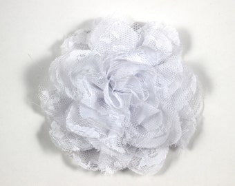 3.75 inch Chiffon Lace Flower in White - Flower Head for Headbands and DIY Hair Accessories