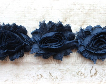 1/2 Yard Shabby Chiffon Flower Trim in Navy - Flower Trim for Headbands and DIY supplies