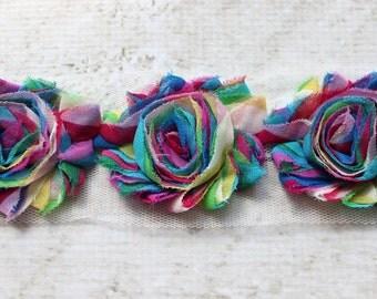 SALE!!!  1 Yard Rainbow Shabby Chiffon Flower Trim - Flower Trim for Headbands and DIY supplies