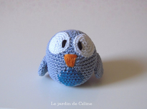 Baby bird - Pigeon - french blue with little blue belly - crocheted in cotton