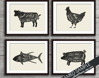 Beef, Chicken, Fish and Pork (Butcher Diagram Series) - Set of 4 - Art Prints (Featured Vintage Chalkboard with Cream) Kitchen Prints