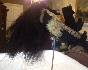 black woven straw 1880's hat with horse hair and  ostrich trim