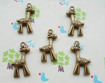 20 PCS 20x30mm Antique Bronze lovely Deer with flowers Charms,sika deer charm