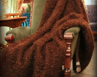 Plush Curly Brown Buffalo Hide Faux Fur Throw  Blanket / Comforter / Dark Brown Curly Bear Premium Lined Pelt / All New Sizes