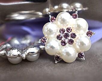 Set of 2 Pearl Rhinestone Button - Large Rhinestone Flower Center - Pearl Embellishment - 25mm Flatback Lavender Rhinestone Button