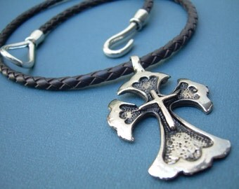 Leather Necklace, Gothic Cross Pendant , Mens Cross Necklace, Mens Jewelry, Mens Gift, Mens Necklace
