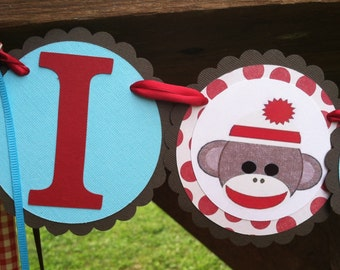 Sock Monkey Birthday High Chair banner sock monkey banner sock monkey party sock monkey party monkey banner monkey birthday monkey party