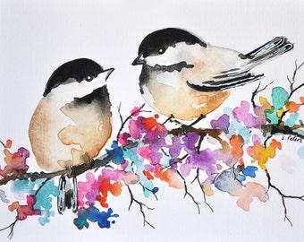 ORIGINAL Watercolor Bird Painting 6x8 inch Chickadee Illustration